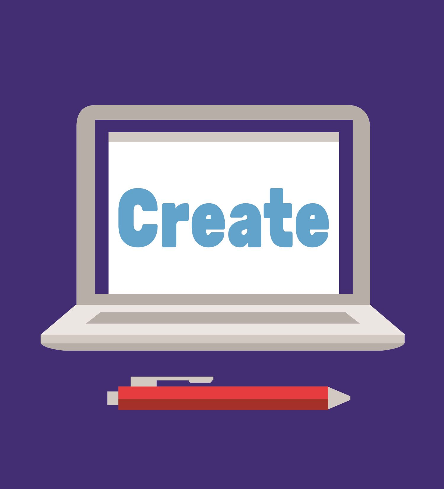 Cartoon image of a laptop with the word 'create' displayed on the screen