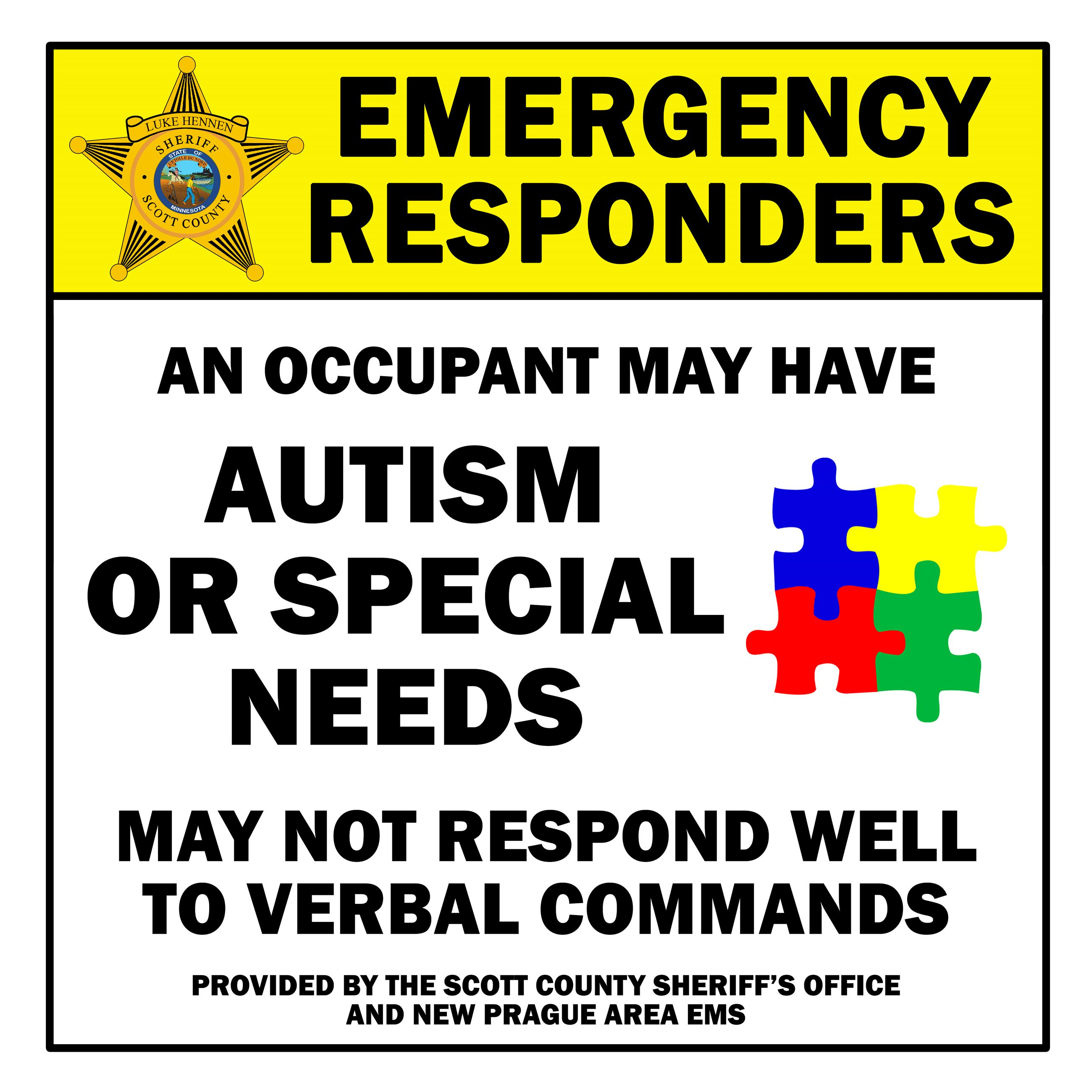 Autism/Special Needs Emergency Alert Window Decal